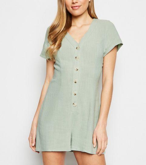 19c49f3b9c ... Mint Green Linen Look Button Up Playsuit ...