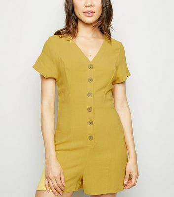 Yellow Linen Look Button Up Playsuit