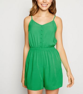 Green Strappy Button Front Playsuit