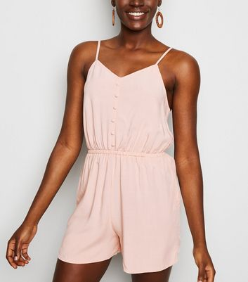 Pink Strappy Button Front Playsuit