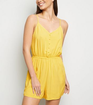 Yellow Strappy Button Front Playsuit
