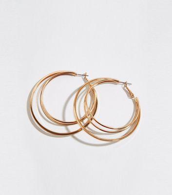 Gold Triple Hoop Earrings by New Look