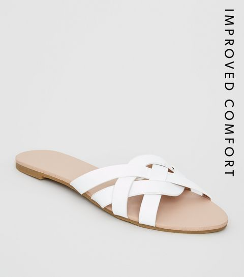 d1134788b9de2 ... White Leather-Look Woven Strap Sliders ...