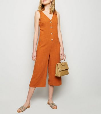 Rust Linen Look Button Front Crop Jumpsuit
