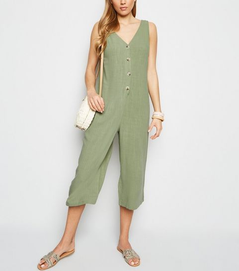 e5168c1ed67 ... Khaki Linen Look Button Front Crop Jumpsuit ...