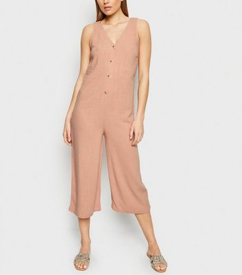 Pale Pink Linen Look Button Front Crop Jumpsuit