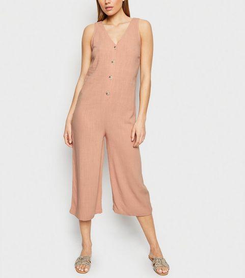 372967d089f ... Pale Pink Linen Look Button Front Crop Jumpsuit ...