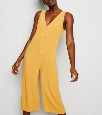 Yellow Linen Look Button Front Crop Jumpsuit