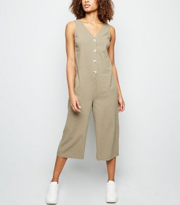Green Grid Check Button Front Jumpsuit