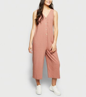 Pink Grid Check Button Front Jumpsuit