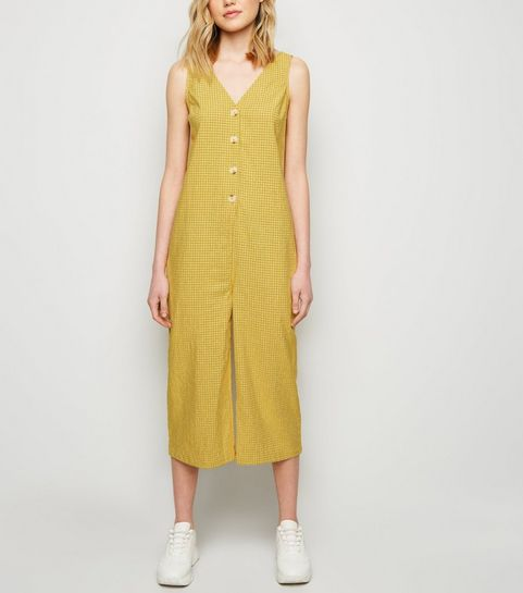 228092ee2ea8 ... Mustard Grid Check Button Front Jumpsuit ...