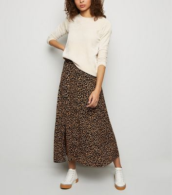 Tall Black Animal Print Midi Skirt
