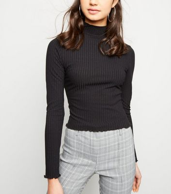 Black Ribbed Frill Hem Top