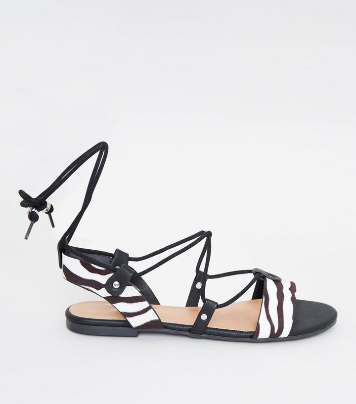 1339990837 Black Zebra Print Ankle Tie Ghillie Sandals | New Look