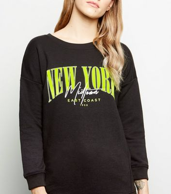 Petite Black New York Neon Slogan Sweatshirt