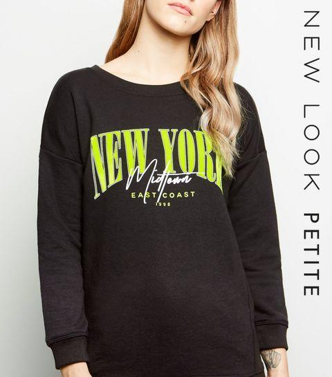 3bc1305880bb ... Petite Black New York Neon Slogan Sweatshirt ...