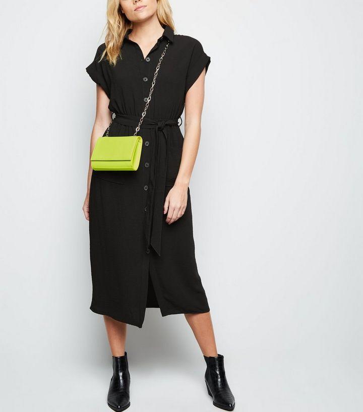 dac7d86b90a3 Black Short Sleeve Midi Shirt Dress | New Look