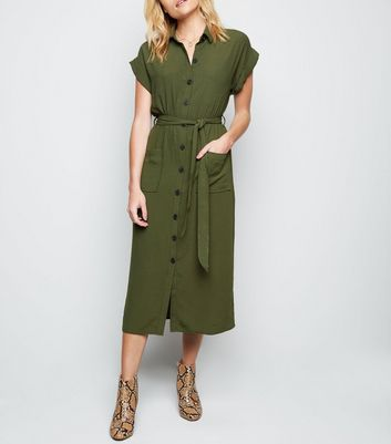 Khaki Short Sleeve Midi Shirt Dress