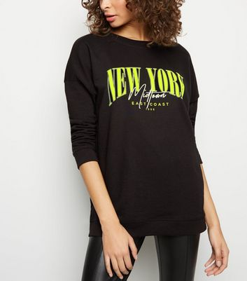 Tall Black New York Neon Slogan Sweatshirt