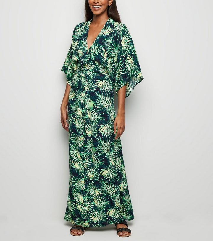 3ce6a6741c0 Blue Vanilla Green Tropical Leaf Kimono Dress