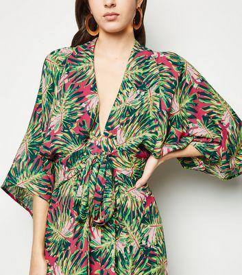 Blue Vanilla Pink Tropical Leaf Kimono Maxi Dress New Look