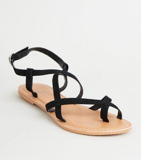 de184f4d834e20 ... Black Suede Multi Strap Flat Sandals ...
