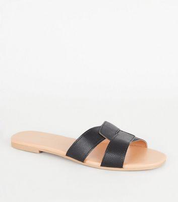 Black Leather-Look Interlocked Strap
