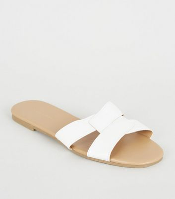 White Faux Croc Interlocked Strap Sliders