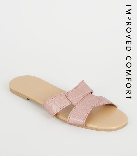 4a66eff6902b ... Pink Faux Croc Interlocked Strap Sliders ...
