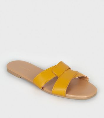 Mustard Leather Look Interlocked Strap Sliders by New Look
