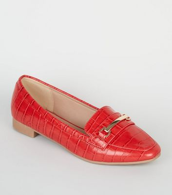 Wide Fit – Rote Loafers in Kroko-Optik