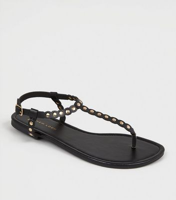 Wide Fit Black Scallop Stud Strap Sandals