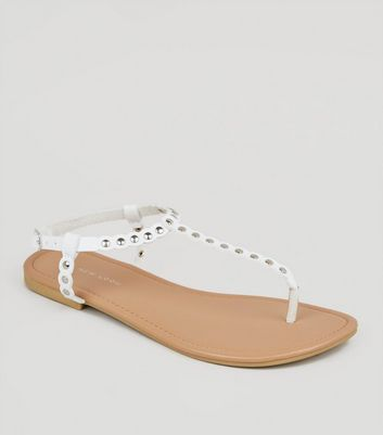 Wide Fit White Scallop Stud Strap Sandals