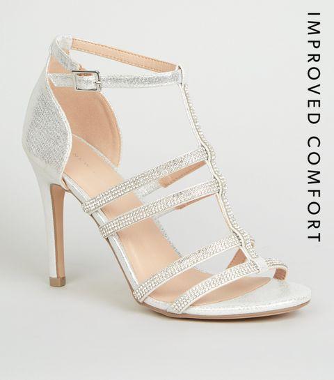 9e89fd661b085e Silver Diamanté Gladiator Stiletto Heels · Silver Diamanté Gladiator  Stiletto Heels ...