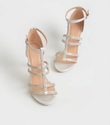 shop for Silver Diamanté Gladiator Stiletto Heels New Look Vegan at Shopo