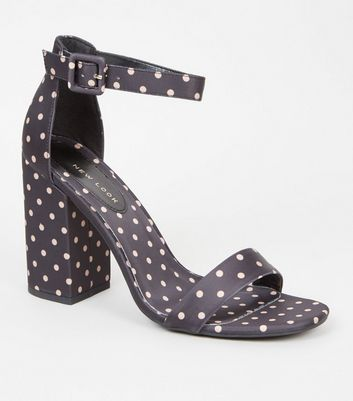 Black Satin Spot Print Block Heel Sandals