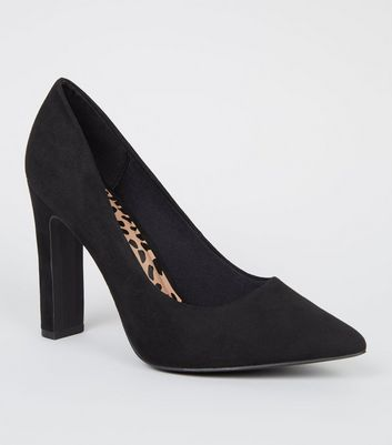 Wide Fit Black Suedette Pointed Courts