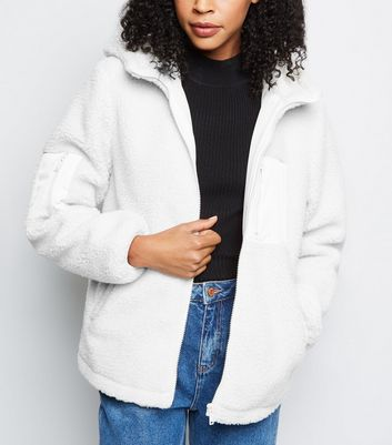 Cream Patch Pocket Hooded Teddy Jacket