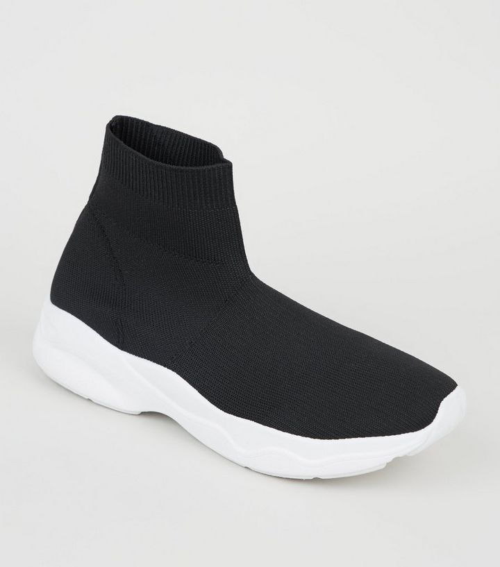 6db792ddd32 Black Knit High Top Sock Trainers Add to Saved Items Remove from Saved Items
