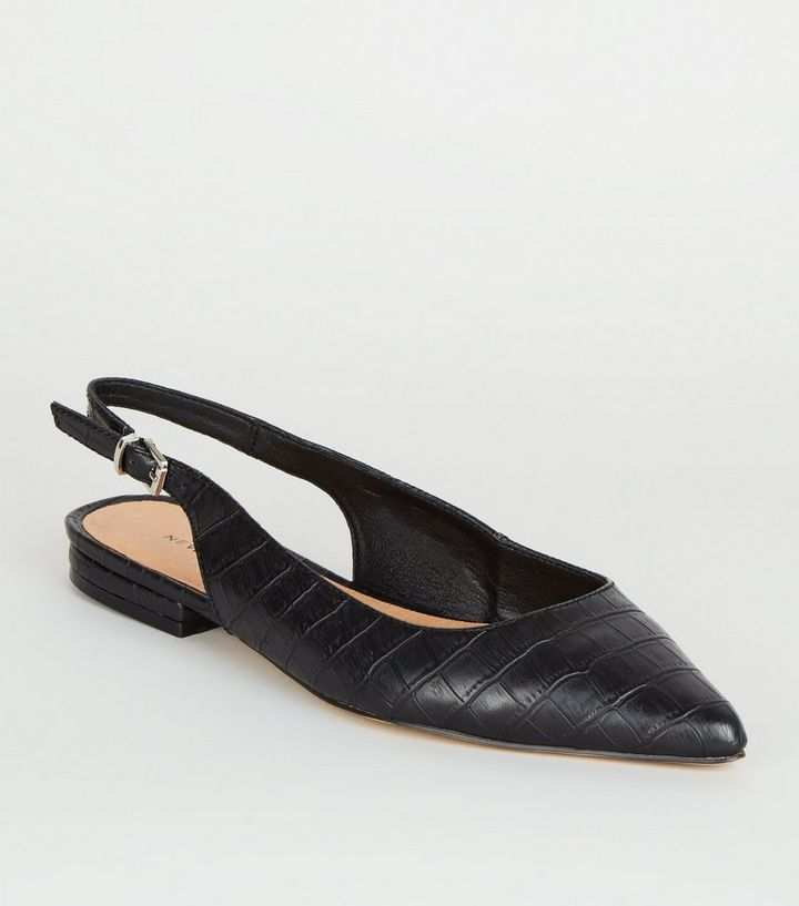 Black Faux Croc Pointed Flat Slingbacks