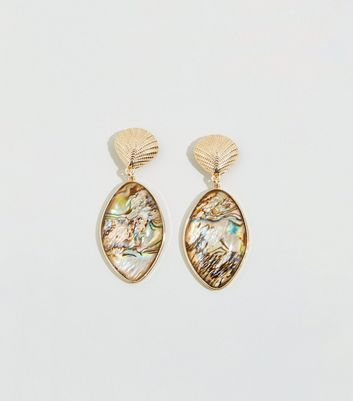 Gold Shell and Marble Effect Earrings