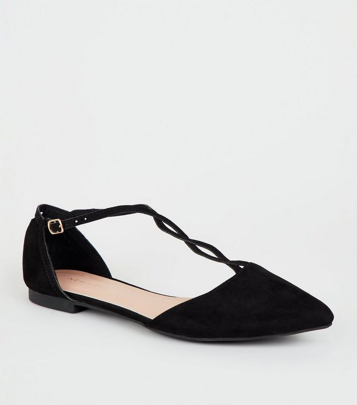 fed64742c9b Black Suedette Twist T-Bar Strap Pumps Add to Saved Items Remove from Saved  Items