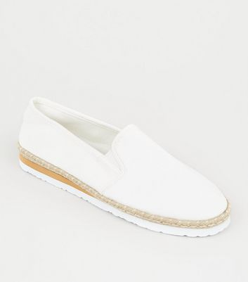 Off White Canvas Slip On Espadrilles