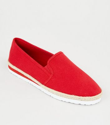 Red Canvas Slip On Espadrilles