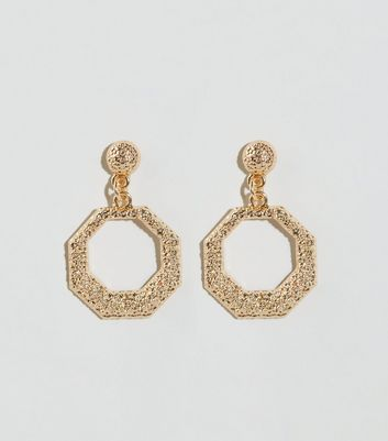 Gold Premium Hexagon Hoop Earrings