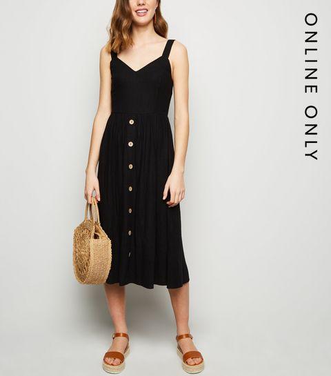 54bd9a1365 ... Black Linen Look Button Front Midi Dress ...