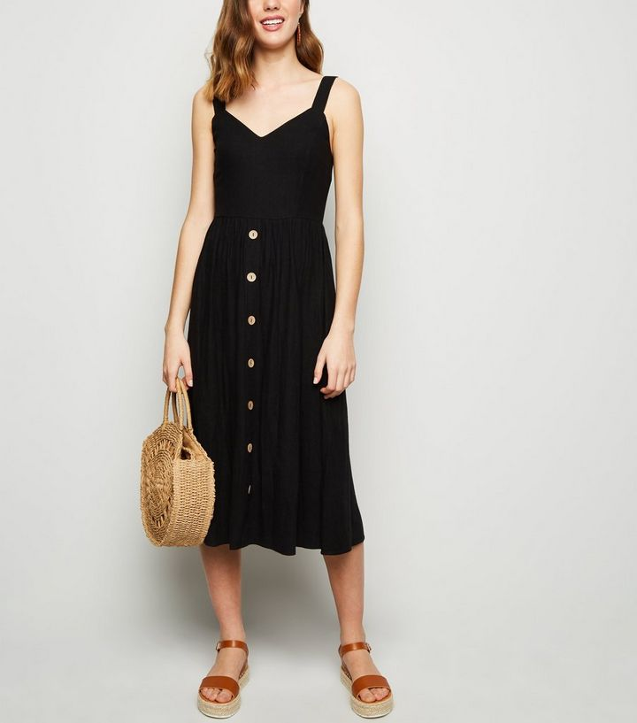 151b3ad7fe327 Black Linen Look Button Front Midi Dress Add to Saved Items Remove from  Saved Items