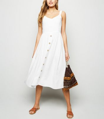 White Linen Look Button Front Midi Dress