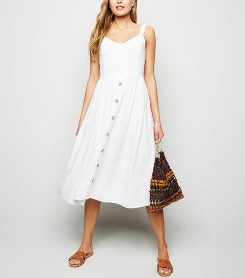 b3cd396f597b ... White Linen Look Button Front Midi Dress ...
