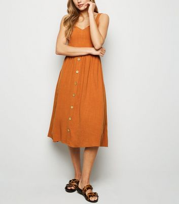 Rust Linen Look Button Front Midi Dress